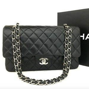 Like New CHANEL Leather Double Flap Chain Bag SHW